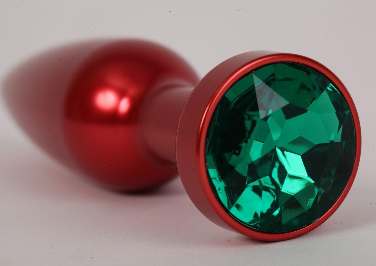 Большая красная анальная пробка с зеленым стразом - 11