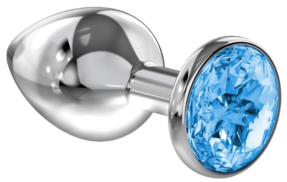 Большая серебристая анальная пробка Diamond Light blue Sparkle Large с голубым кристаллом - 8 см.