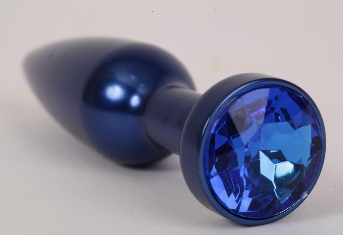 Большая синяя анальная пробка с синим стразом - 11