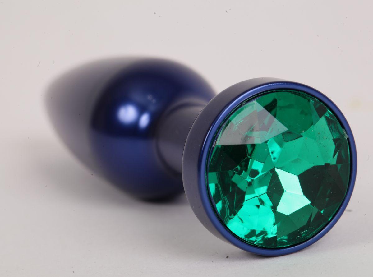 Большая синяя анальная пробка с зеленым стразом - 11