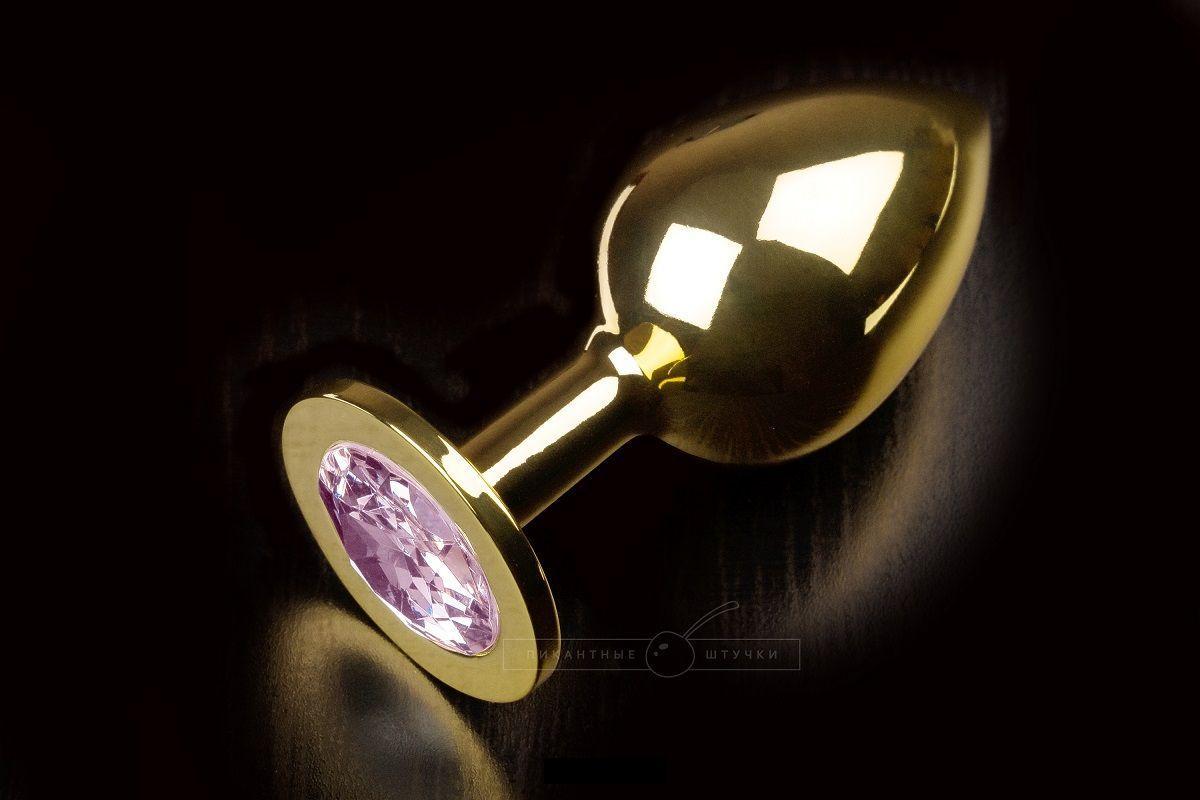 Большая золотая анальная пробка с закругленным кончиком и розовым кристаллом - 9 см.-5689