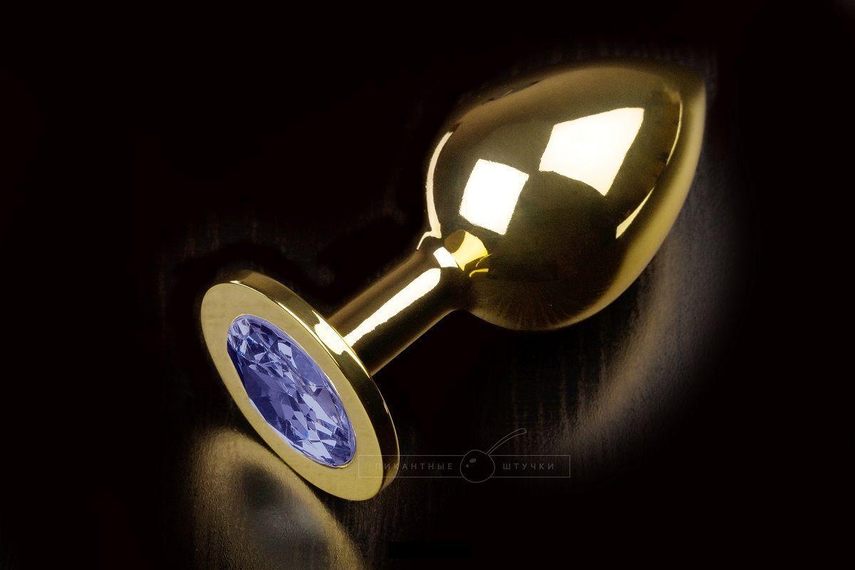 Большая золотая анальная пробка с закругленным кончиком и синим кристаллом - 9 см.-5693