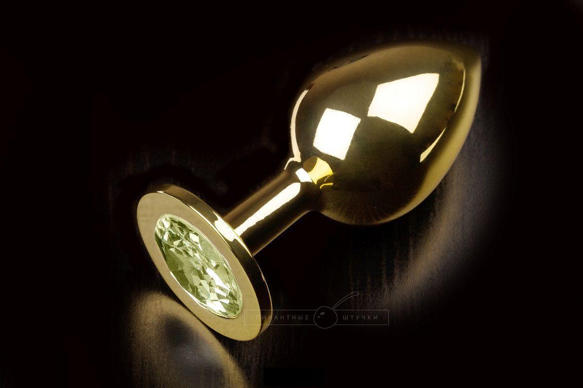 Большая золотая анальная пробка с закругленным кончиком и жёлтым кристаллом - 9 см.-5697