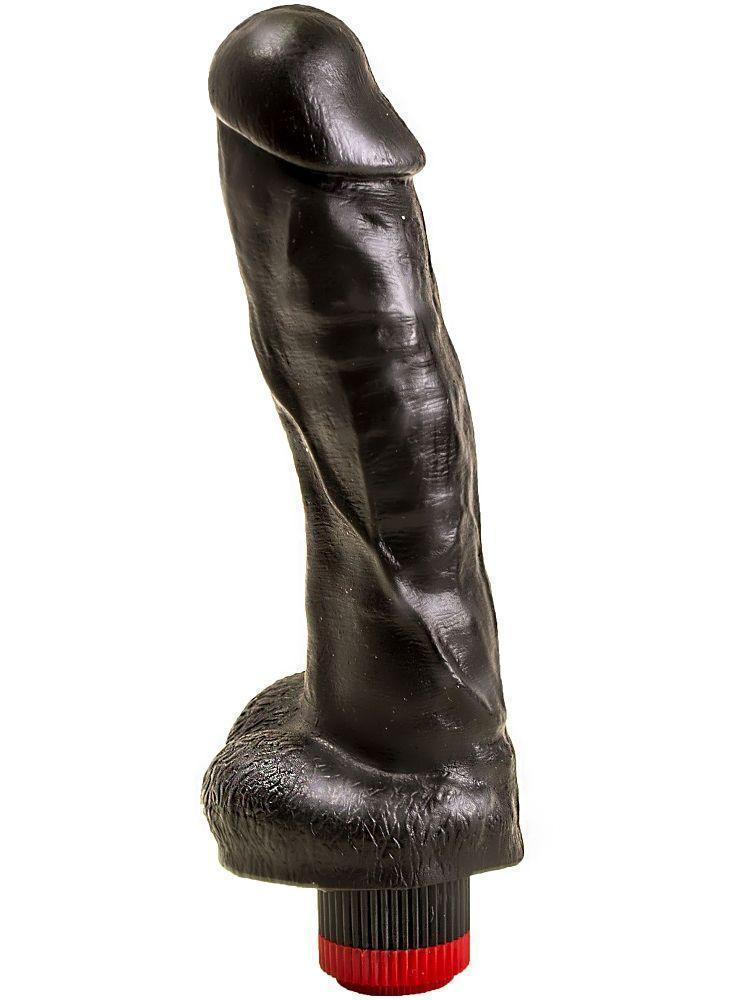 Большой чёрный вибромассажёр в форме фаллоса - 20