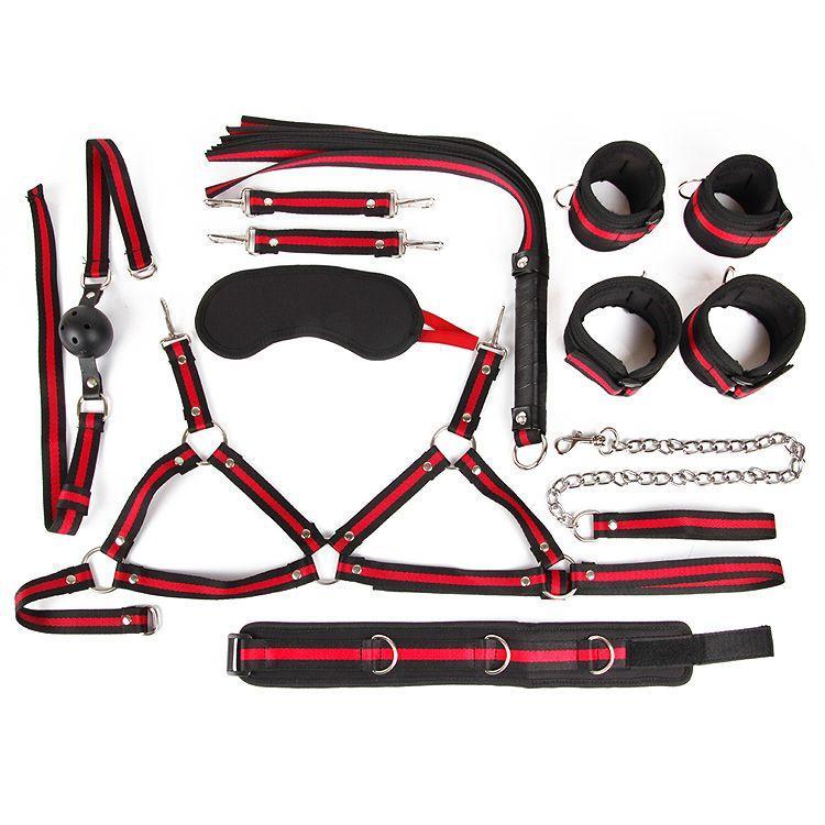 Черно-красный набор БДСМ: наручники