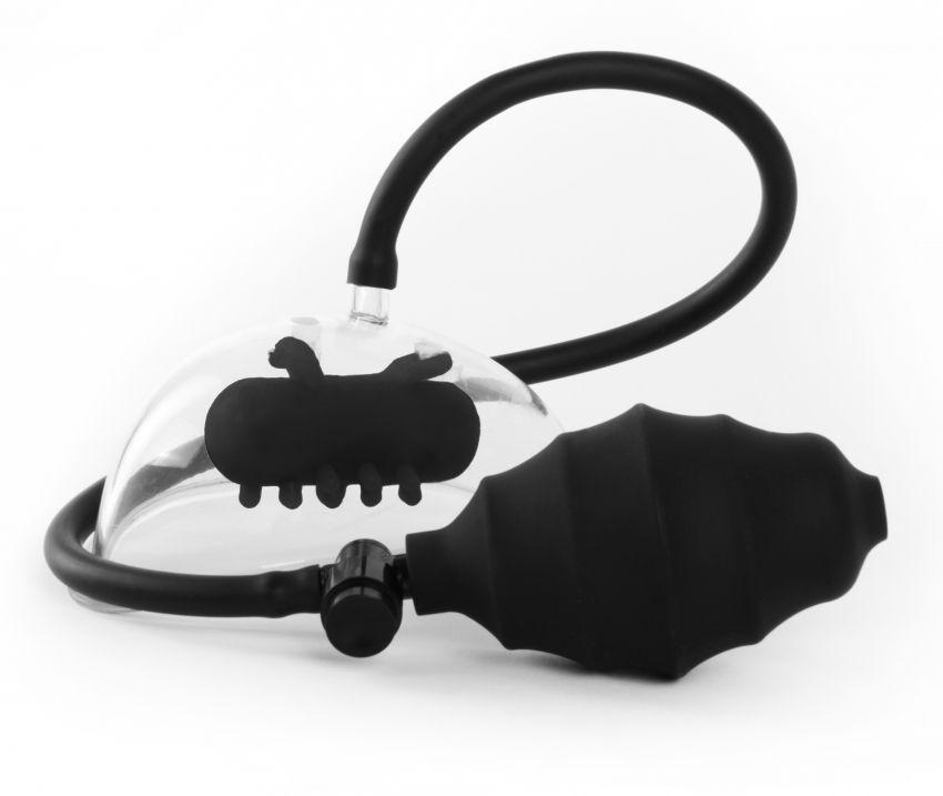 Чёрная вакуумная вибропомпа Vibrating Pussy Pump-8808