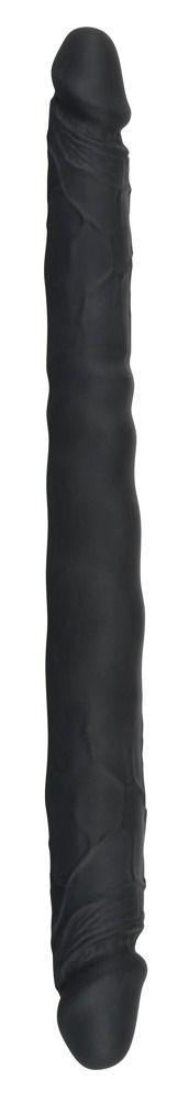 Чёрный двусторонний фаллоимитатор Double Dong Black - 40 см.-9596