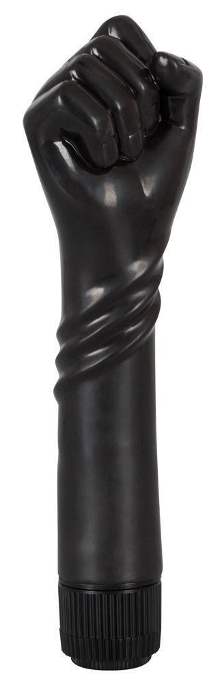 Чёрный вибратор-рука для фистинга The Black Fist Vibrator - 24 см.-3154