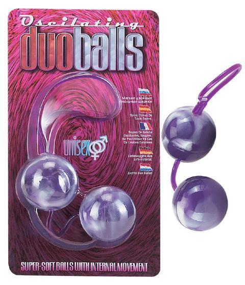 Фиолетово-белые вагинальные шарики со смещенным центром тяжести-436