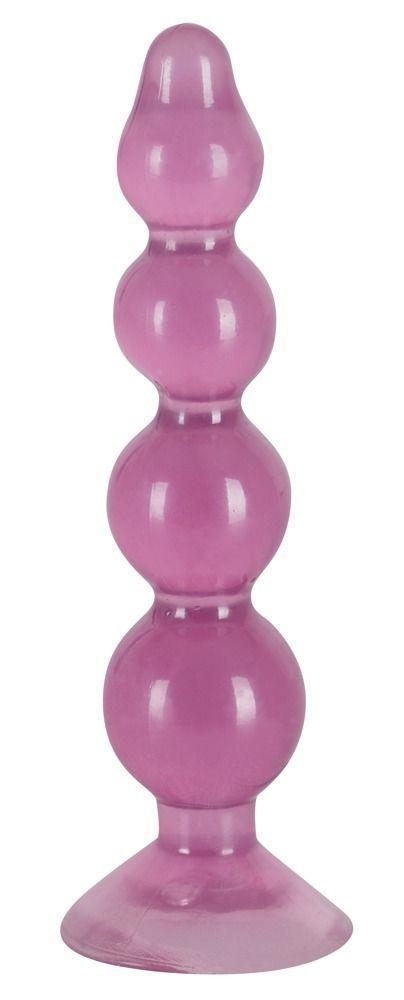 Фиолетовый анальный стимулятор-ёлочка Anal Beads - 13 см.-12481
