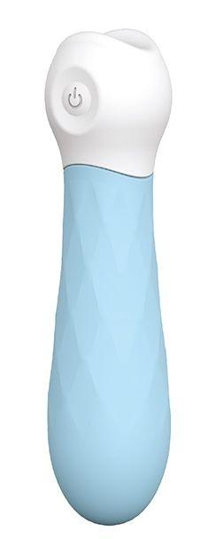 Голубой силиконовый мини-вибромассажер DIAMOND BABY BOO - 12 см.-3334