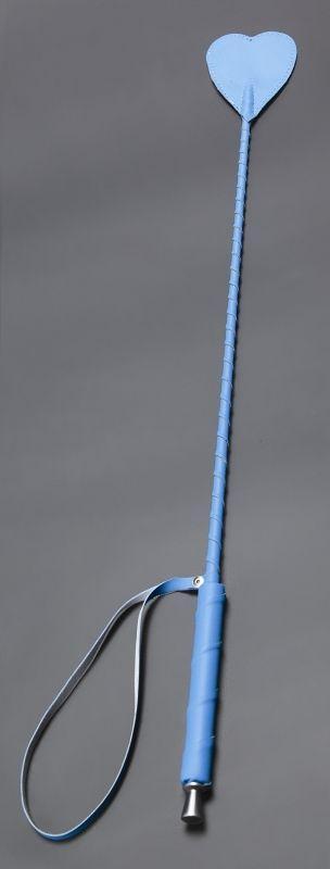 Голубой стек с наконечником-сердцем из искусственной кожи - 70 см.-3898