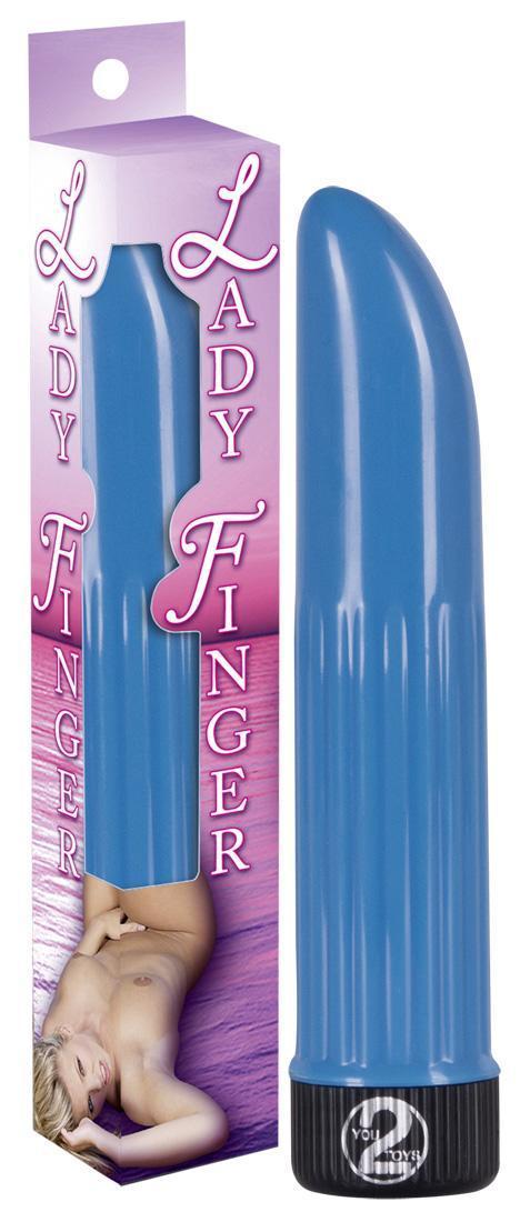 Голубой вибратор Дамский пальчик - 13 см.-12115