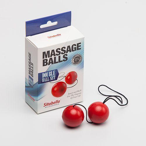 Красные массажные вагинальные шарики-13011