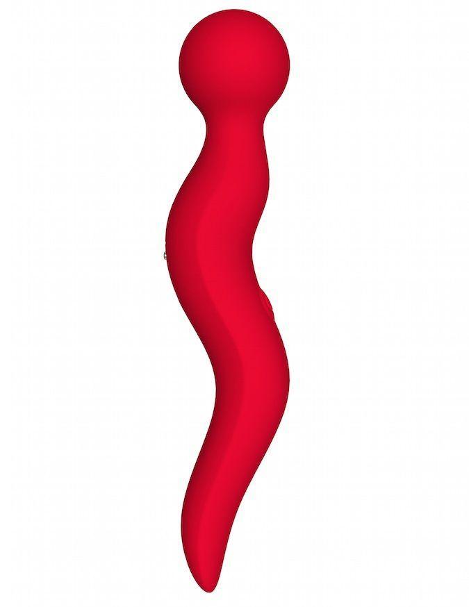 Красный жезловый вибромассажёр Cassi - 21 см.-1185