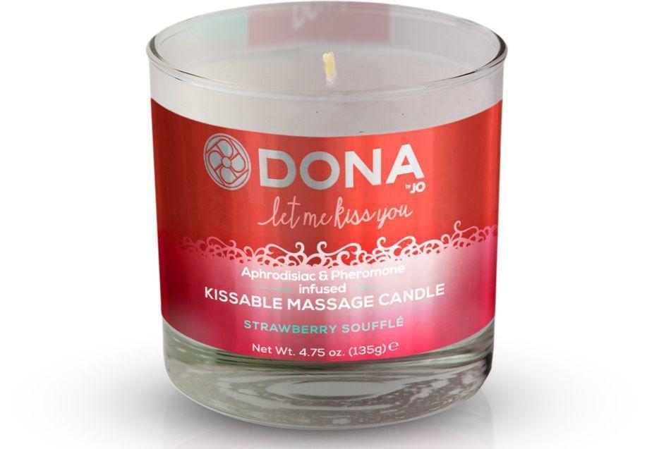 Массажная свеча DONA Strawberry Souffle с ароматом клубничного суфле - 135 гр.-12850