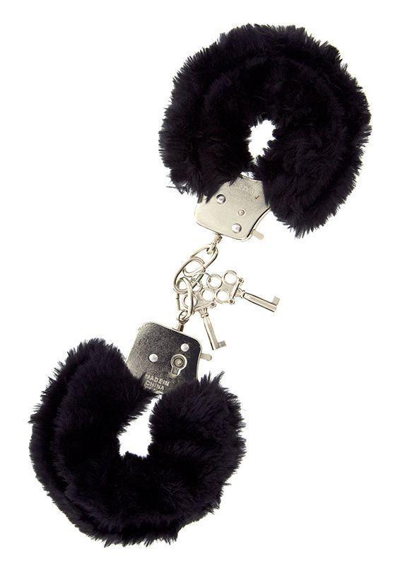 Металлические наручники с чёрной меховой опушкой-8582