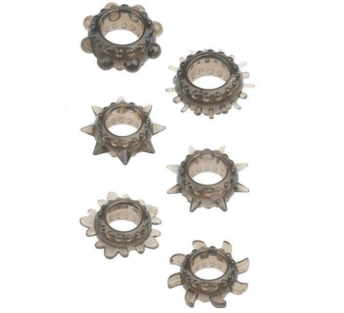 Набор из 6 дымчатых эрекционных колец MENZSTUFF 6PC STRECHEABLE RING SET-320