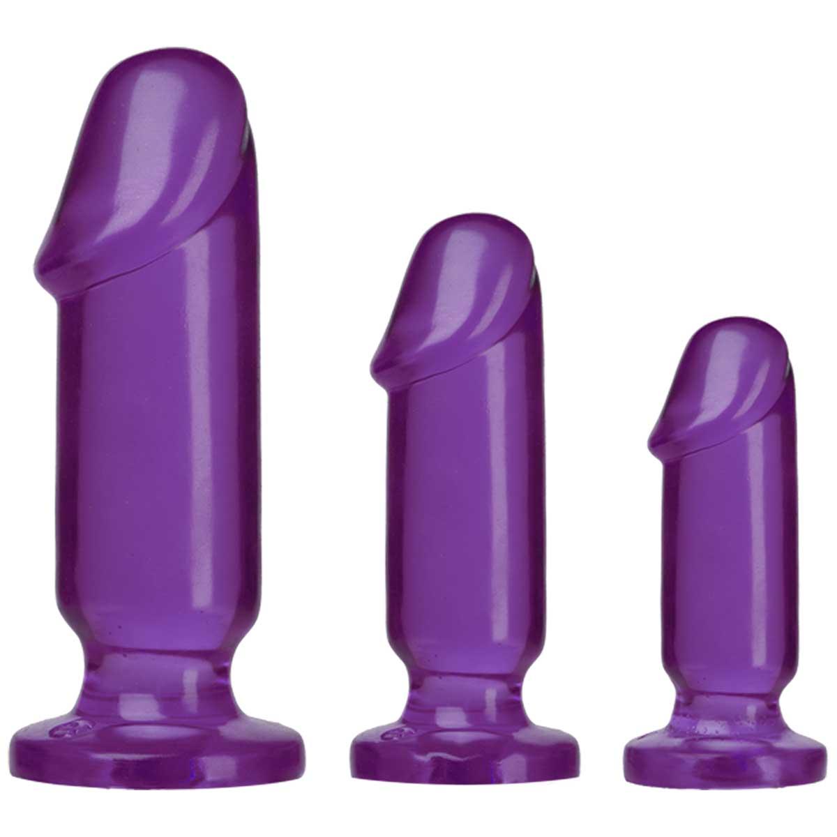 Набор из трех фиолетовых анальных фаллоимитаторов Crystal Jellies Anal Starter Kit-5202