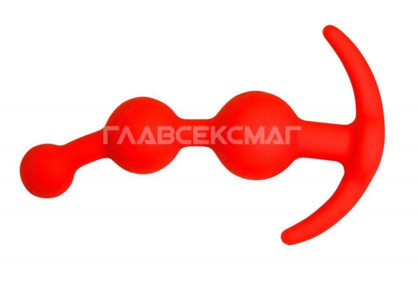 Оранжевая анальная цепочка из 3 звеньев - 13 см.-5069