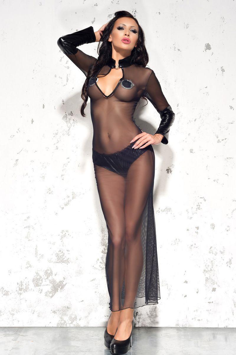 Полупрозрачное длинное платье Sarah с воротником-стойкой
