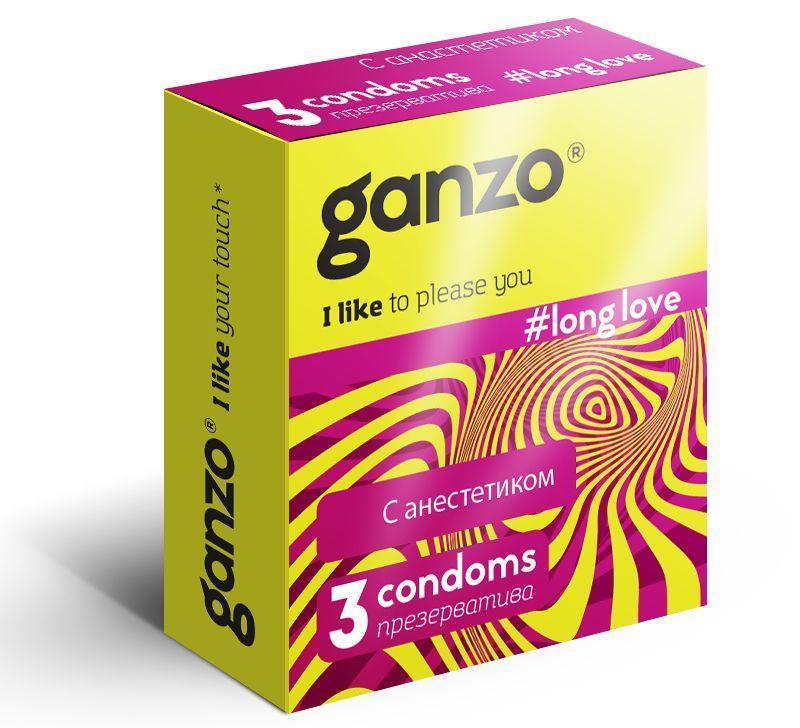 Презервативы с анестетиком для продления удовольствия Ganzo Long Love - 3 шт.