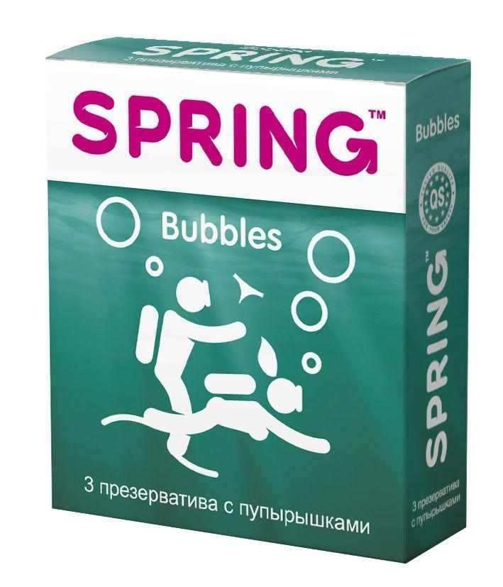 Презервативы SPRING BUBBLES с пупырышками - 3 шт.