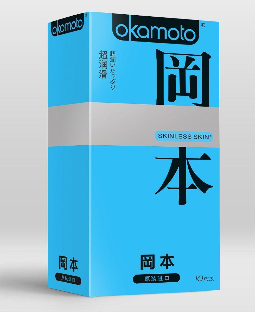 Презервативы в обильной смазке OKAMOTO Skinless Skin Super lubricative - 10 шт.