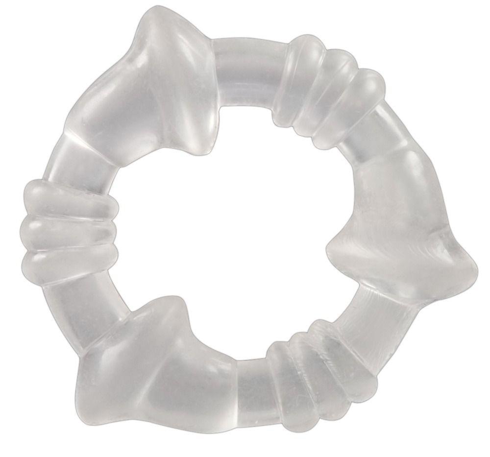 Прозрачное эрекционное кольцо с рёбрышками и наплывами-10038