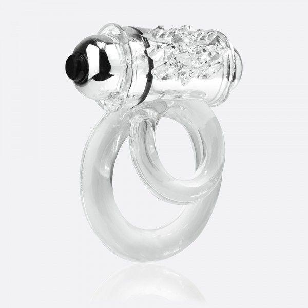 Прозрачное эрекционное кольцо с шишечками и подхватом мошонки DOUBLE O 6 CLEAR-1306