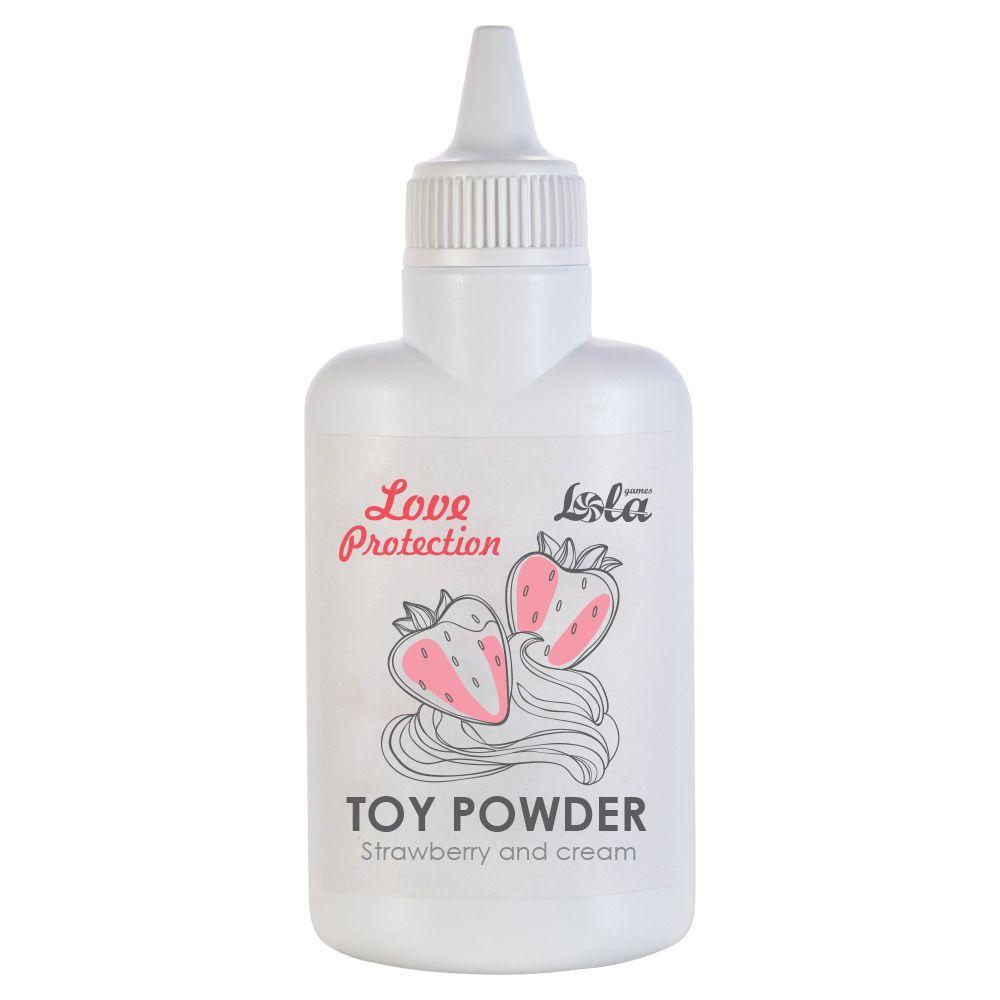Пудра для игрушек Love Protection с ароматом клубники со сливками - 30 гр.-6902
