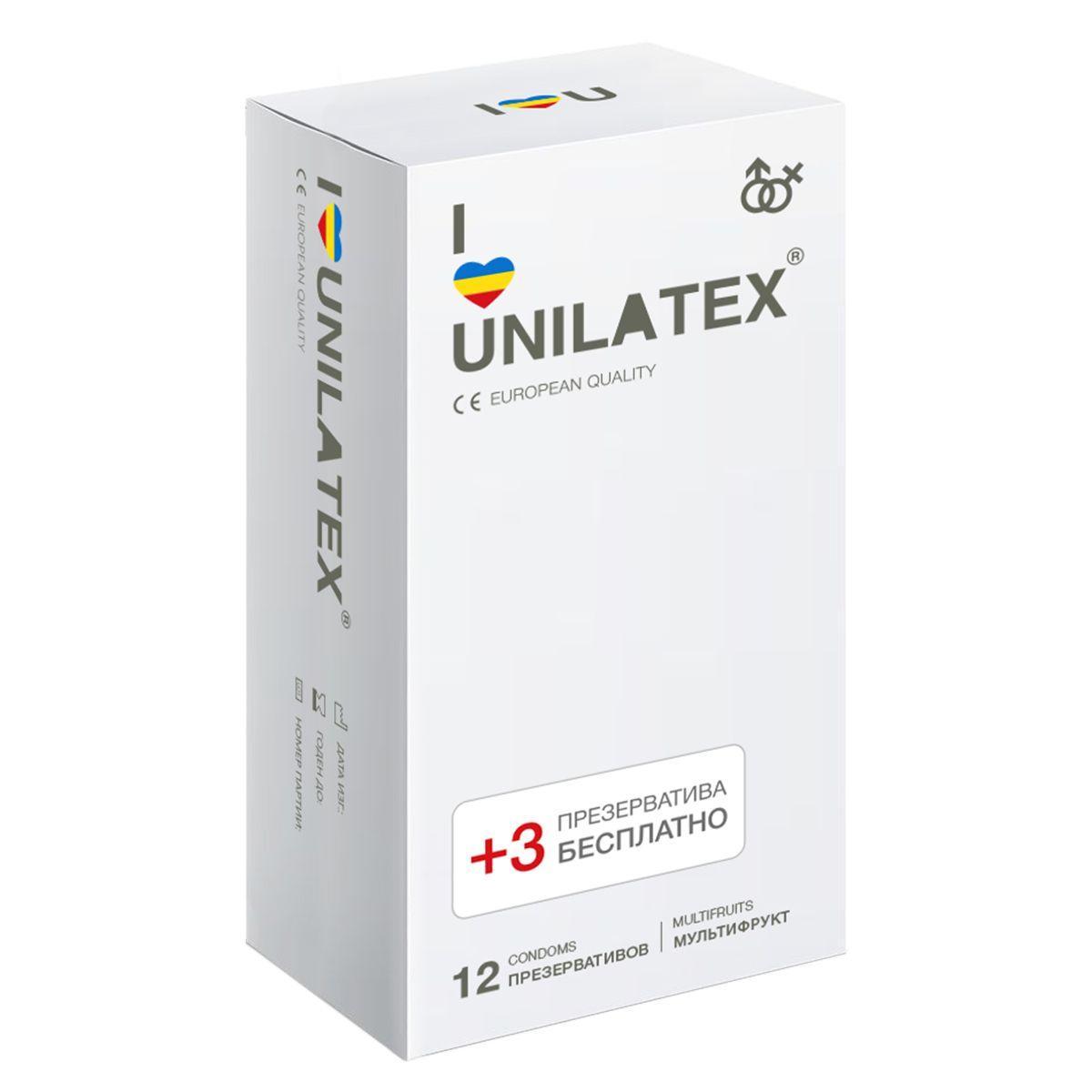 Разноцветные ароматизированные презервативы Unilatex Multifruit - 12 шт. + 3 шт. в подарок