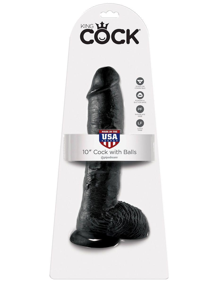 Реалистичный чёрный фаллоимитатор-гигант 10 Cock with Balls - 25