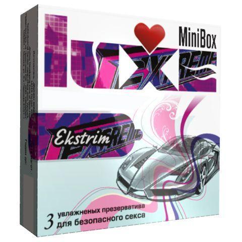 Ребристые презервативы Luxe Mini Box Экстрим - 3 шт.