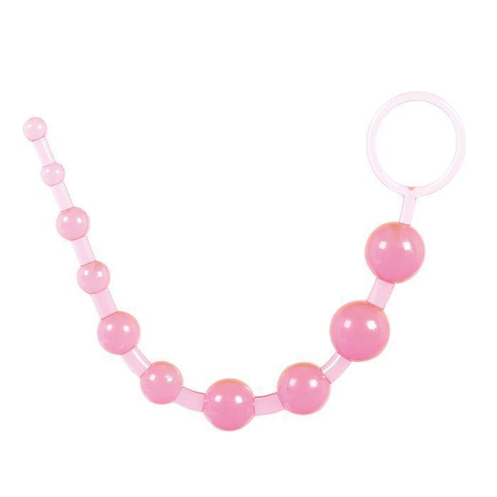 Розовая анальная цепочка из 10 шариков - 25 см.-710