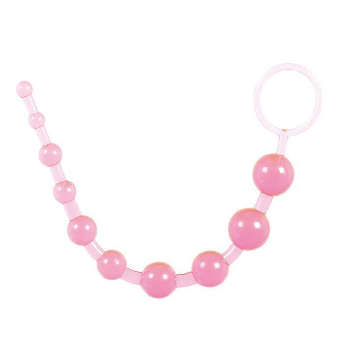 Розовая анальная цепочка с колечком - 25 см.-716