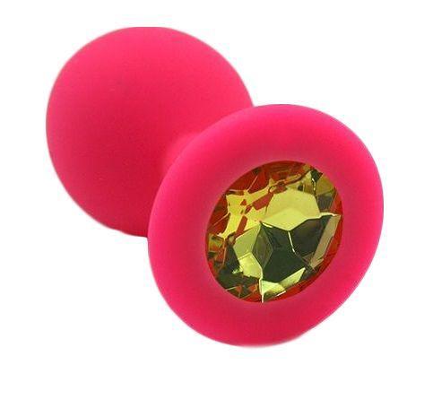 Розовая силиконовая анальная пробка с жёлтым кристаллом - 7 см.-1888