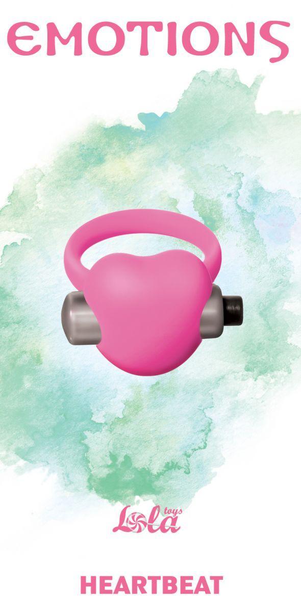 Розовое эрекционное виброкольцо Emotions Heartbeat Light pink-11368
