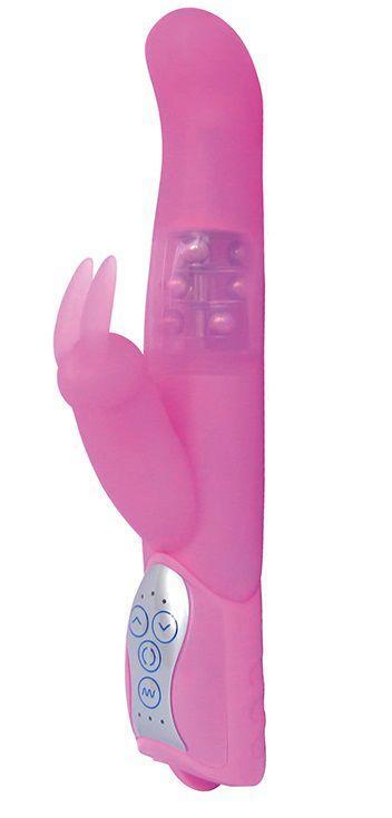 Розовый вибратор LAYLA GIGLI с загнутым кончиком и клиторальным отростком - 25 см.-1156