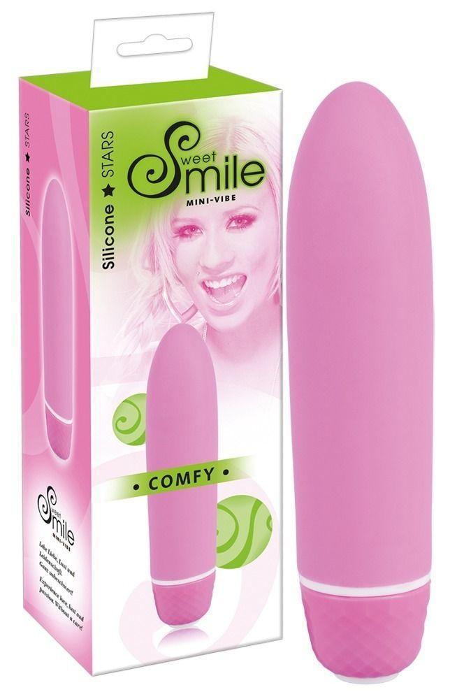 Розовый вибратор Smile Mini Comfy - 13 см.-12387