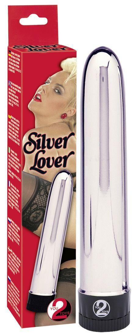 Серебристый классический вибратор Silver Lover - 19 см.-10040