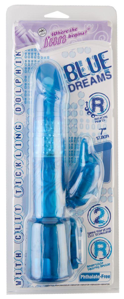 Синий вибратор с клиторальным стимулятором-дельфином - 17