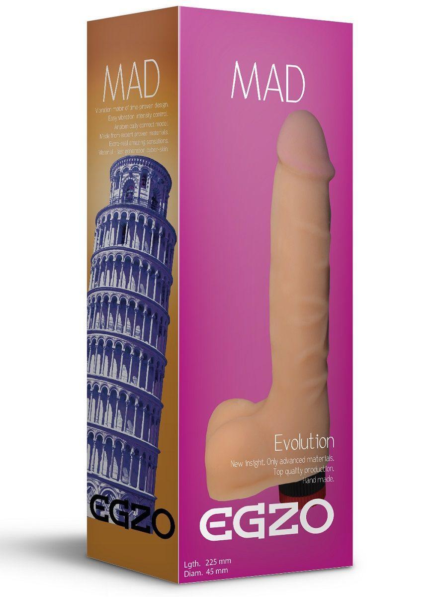 Телесный реалистичный мультискоростной вибратор Mad Tower - 22