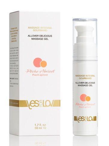 Универсальный массажный гель-смазка Allover Delicious Massage Gel с ароматом персика и аброкоса - 50 мл.-4086