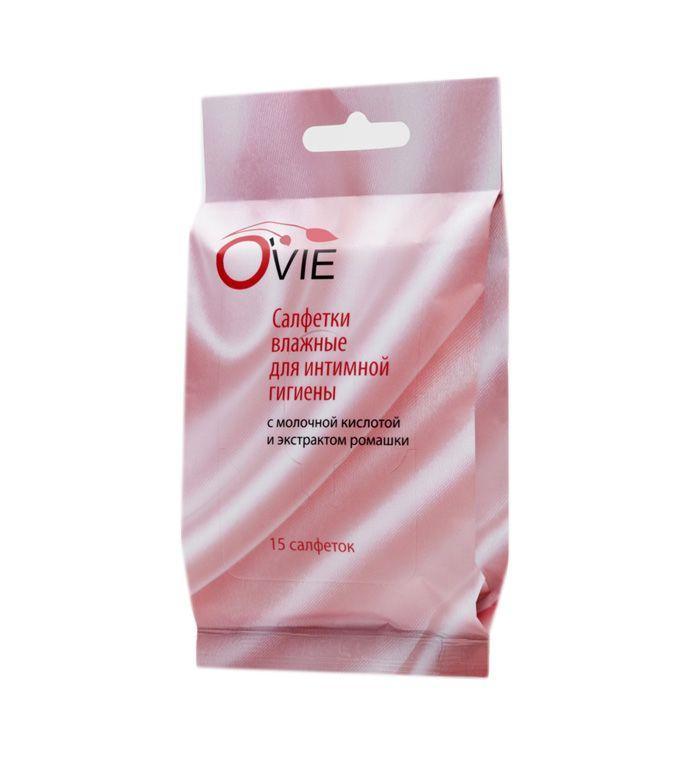 Влажные салфетки с молочной кислотой Ovie для интимной гигиены - 15 шт.-11889