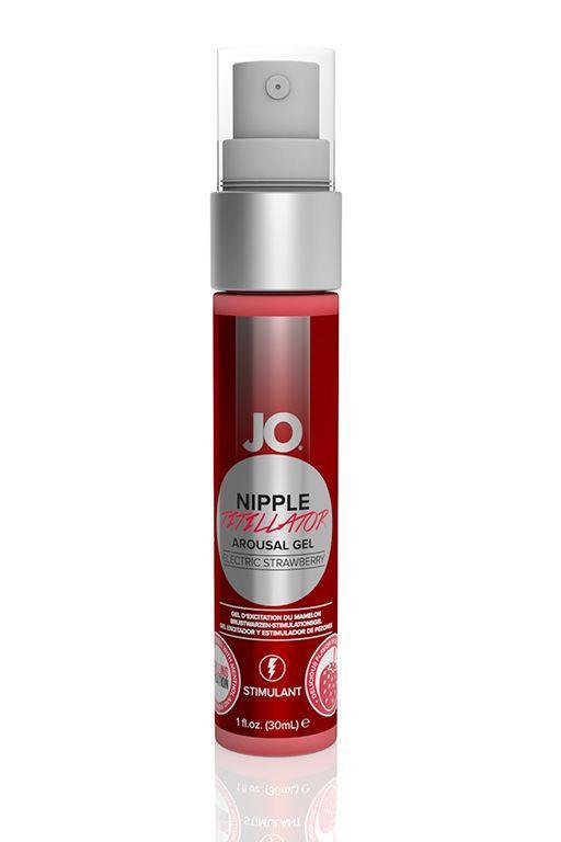 Возбуждающий гель JO Nipple Titillator Electric Strawberry - 30 мл.-3936