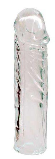 Закрытая прозрачная насадка-фаллос Crystal sleeve - 16 см.-7831