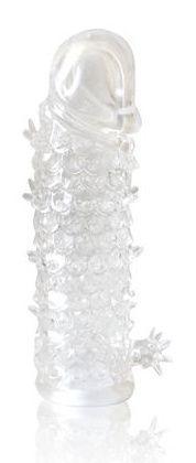 Закрытая прозрачная рельефная насадка Crystal sleeve - 13 см.-7825