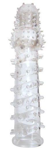 Закрытая прозрачная рельефная насадка с шипиками Crystal sleeve - 13