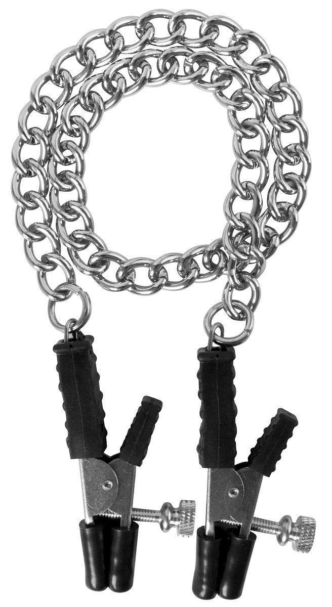 Зажимы на соски Block Busters Nipple Clamps с цепью-751